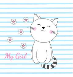 beautiful sleeping cat girl vector image