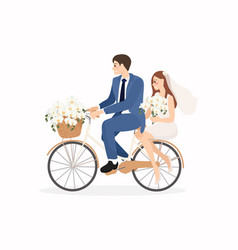 Beautiful young just married wedding couple ride vector