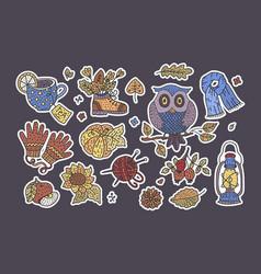 Big autumn icon set cozy fall hand drawn vector