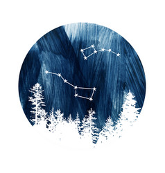 big dipper and little dipper constellations vector image
