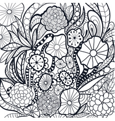 black and white doodle flowers vector image