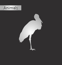 Black and white style icon of stork vector