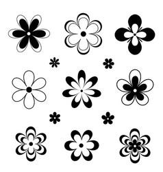 Black white retro style various flowers vector