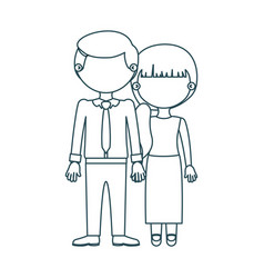 Blue contour faceless couple woman with side vector