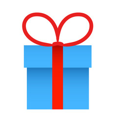 blue gift box with red ribbon bow vector image