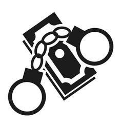Bribery money handcuffs icon simple style vector
