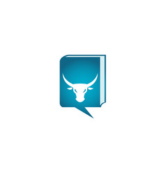 bull head with angry face and big horns for logo vector image