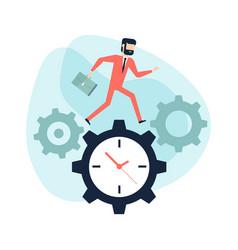 businessman run along gear in form of clock vector image