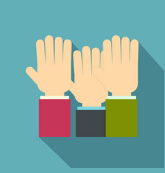 Businessmen hands up icon flat style vector