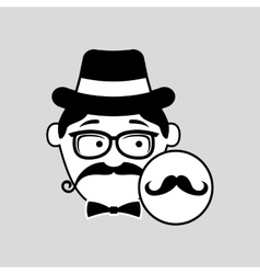 Cartoon hipster mustache retro background vector