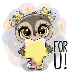 cartoon owl girl with star on the stars background vector image
