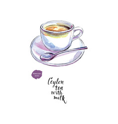 ceramic cup of ceylon tea with milk watercolor vector image