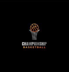 Championship trophy logo design - basketball vector