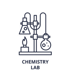 chemistry lab line icon concept chemistry lab vector image