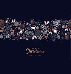 christmas and new year copper pattern deer card vector image