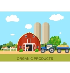 Colorful farm life with natural economy vector