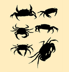 crabs silhouette vector image