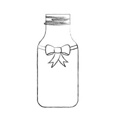 Cristal bottle with bowtie isolated icon vector
