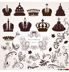 Crown and Vintage Ornament Design vector image