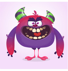cute blue monster cartoon with funny expression vector image
