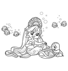 Cute little mermaid girl playing chess with a sea vector