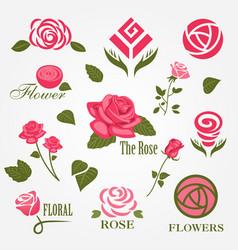 decorative floral rose logo set vector image