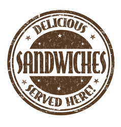 Delicious sandwiches sign or stamp vector