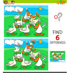 Differences game with ducks animal characters vector