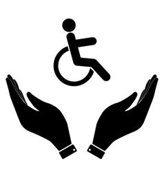 Disabled in hand icon vector