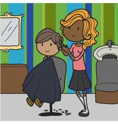 doodle hairdresser vector image