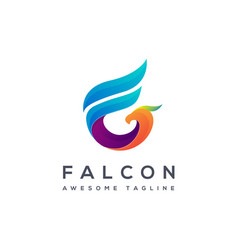 F letter logo for falcon creative falcon logo vector