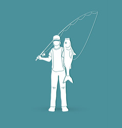 Fisherman standing and show big fish graphic vector