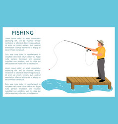 Fishing person with long rod vector