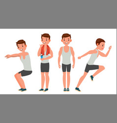 fitness man different poses variety of vector image