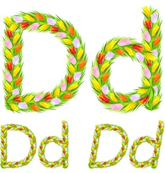 font type letter D made from flower tulip vector image