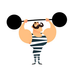 Funny cartoon circus strong man a strong muscular vector