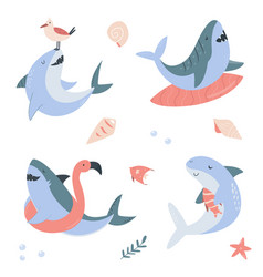 funny set with happy sharks vector image