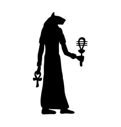 God bastet cat egyptian silhouette ancient egypt vector