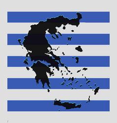 greece map - greek flag background vector image