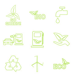 Green eco icons set vector