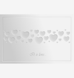 Greeting card for valentines day refined white vector