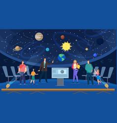 Guide conduct educational excursion at planetarium vector