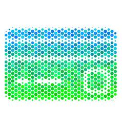 Halftone blue-green bank card icon vector