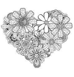 Hand Drawn Floral Heart Design vector