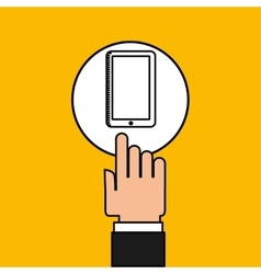hand touch laptop web cellphone vector image
