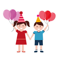 happy boy and girl with birthday balloons vector image