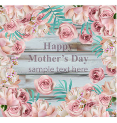 happy mother day card roses realistic vector image