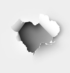 hole torn in ripped paper on white back vector image
