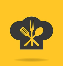 Icon of Chef cook cap with fork spoon and fry vector image