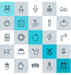 Icons set collection of farmhouse spigot bloom vector